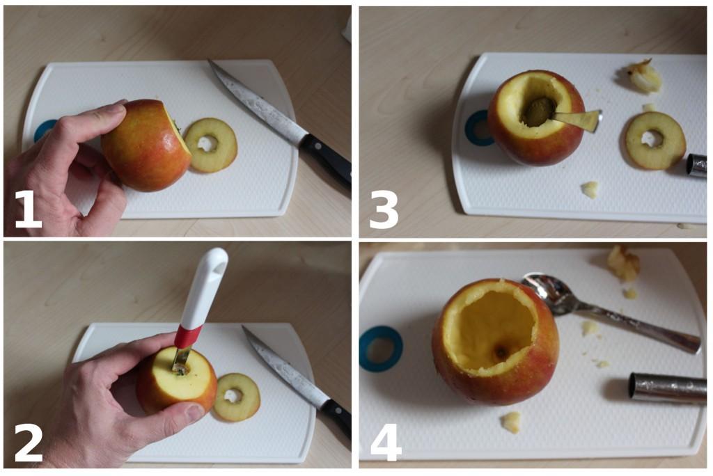 In vier Schritten zum perfekt ausgehöhlten Apfel