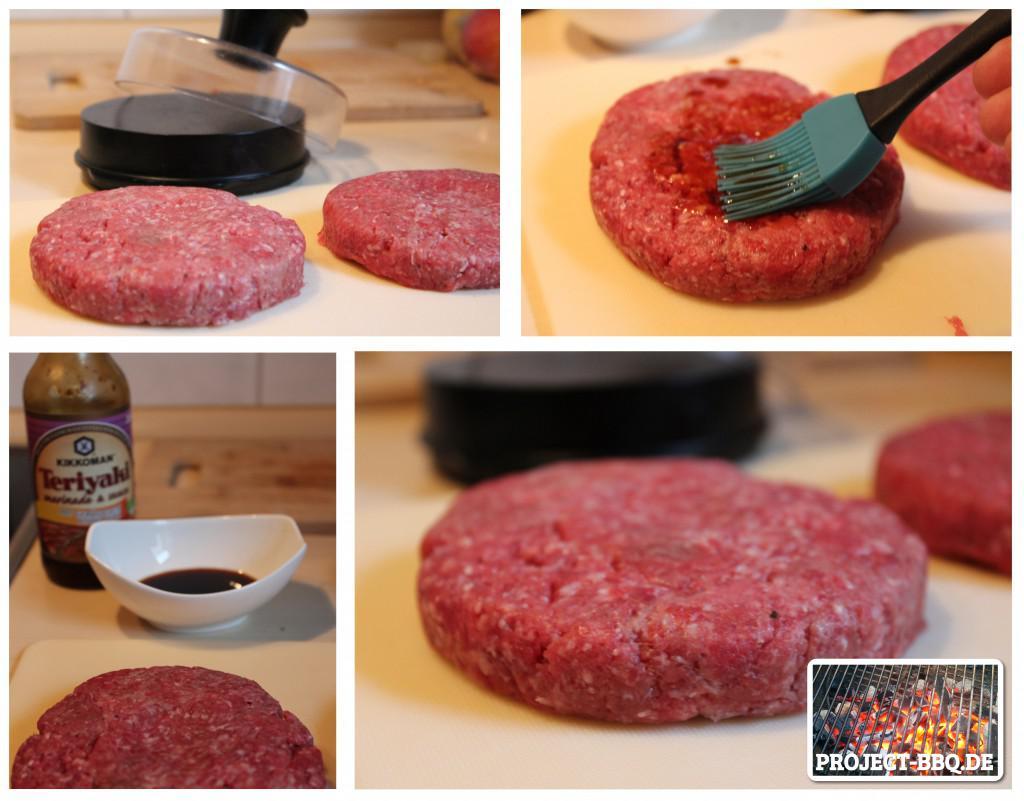 Burger-Patties mit Teriyaki-Sauce