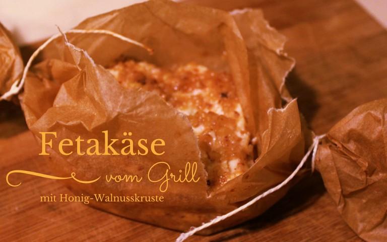 Feta vom Grill in Honig-Walnusskruste
