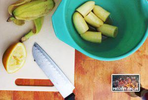 Bananen schneiden