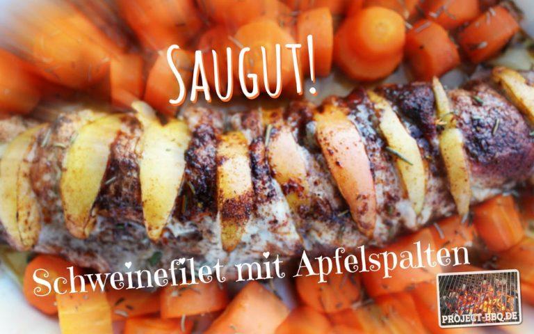 Schweinefilet mit Apfelspalten und Rosmarin-Butter-Möhren
