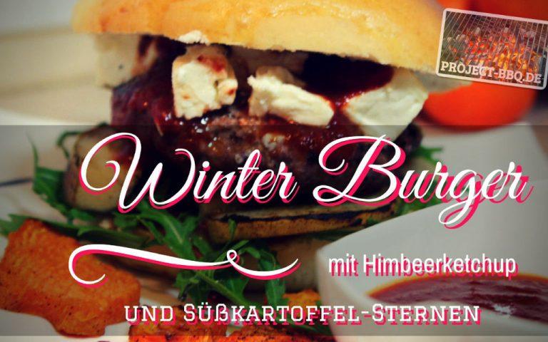 Winter Burger mit Himbeerketchup und Süßkartoffelsternen