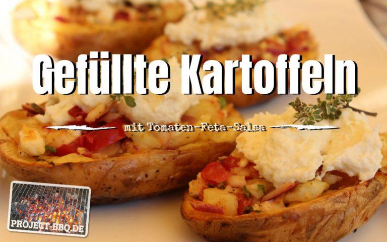 Gefüllte Grillkartoffel mit Tomaten-Feta-Salsa