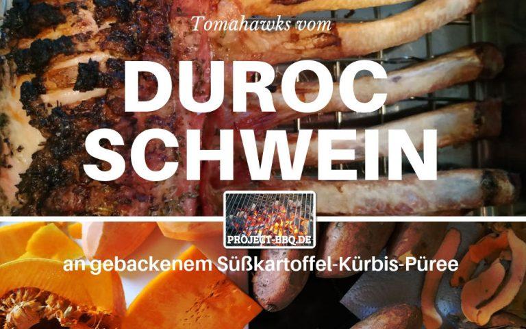 Tomahawks vom Duroc Schwein an gebackenem Süßkartoffel-Kürbis-Püree