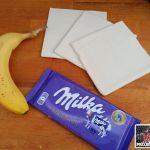 Das Bild zeigt die Zutaten für die Bananen-Schokoladen-Türmchen